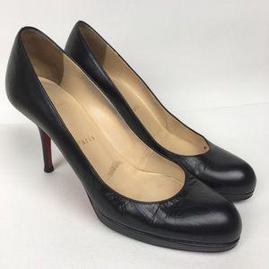 CHRISTIAN LOUBOUTIN Sz 39 Black Leather Heels
